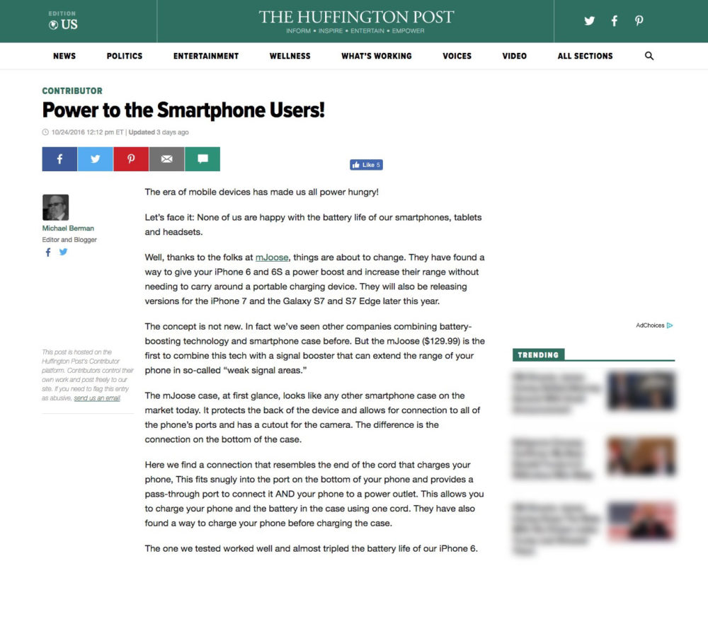 Huffington Post Product Review